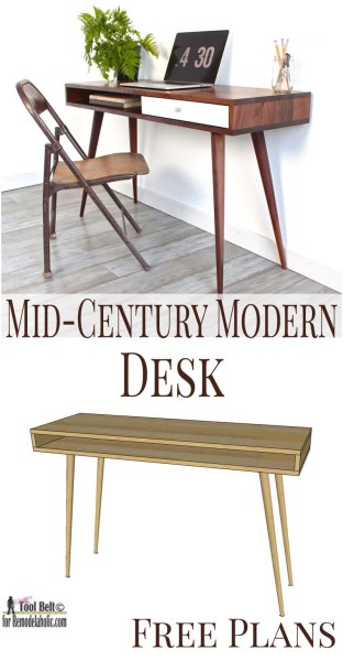 Midcentury modern desk free plans
