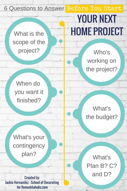 6 Questions to Answer Before Your Next Home Project | Jackie Hernandez for Remodelaholic.com