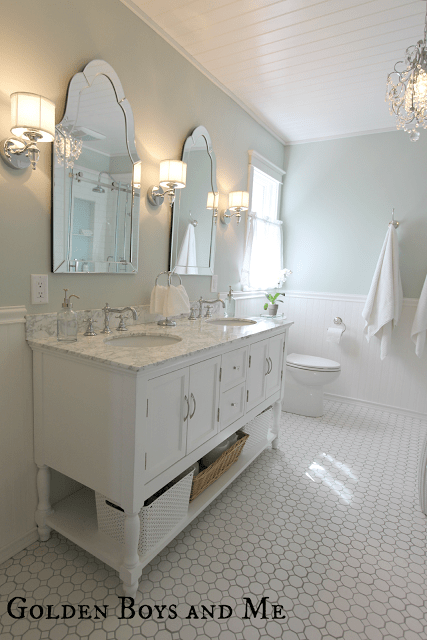elegant spacious master bath remodel - Golden Boys and Me via @Remodelaholic
