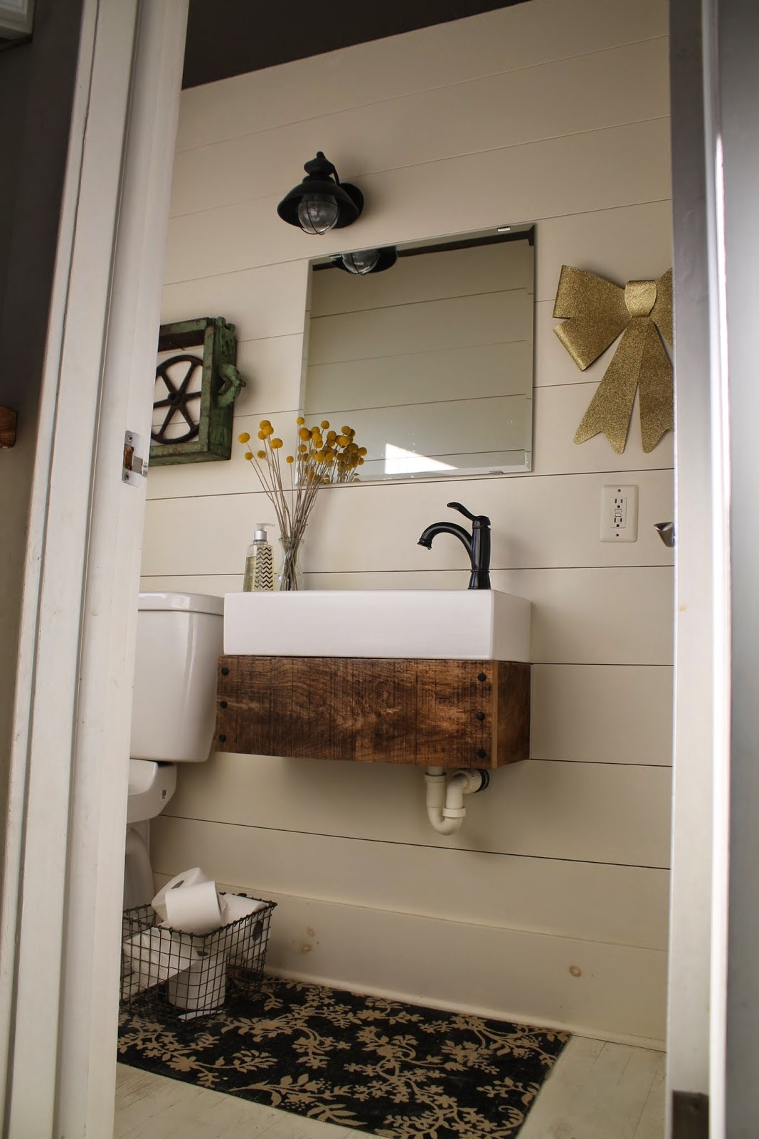 Industrial Style Bathroom With Planked Walls And DIY Floating Reclaimed Wood  Vanity   Girl Meets Carpenter