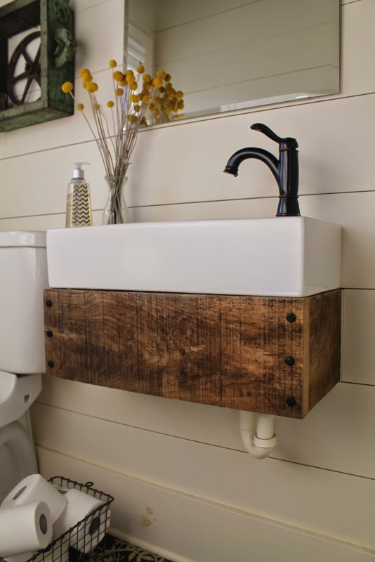 reclaimed wood floating vanity how-to - Girl Meets Carpenter featured on @Remodelaholic
