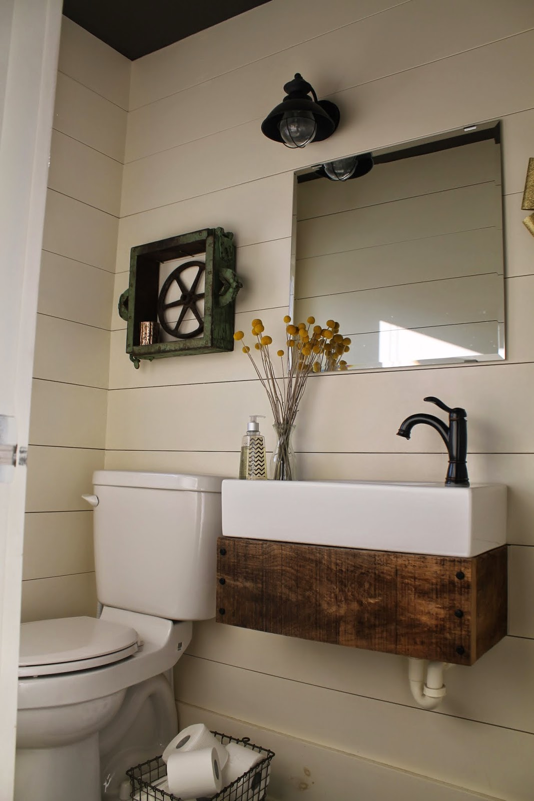 Rustic Reclaimed Wood Floating Vanity In Bathroom With Planked Walls   Girl  Meets Carpenter Featured On