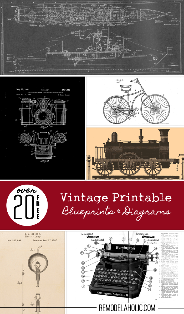 Remodelaholic | 20+ Free Vintage Printable Blueprints and
