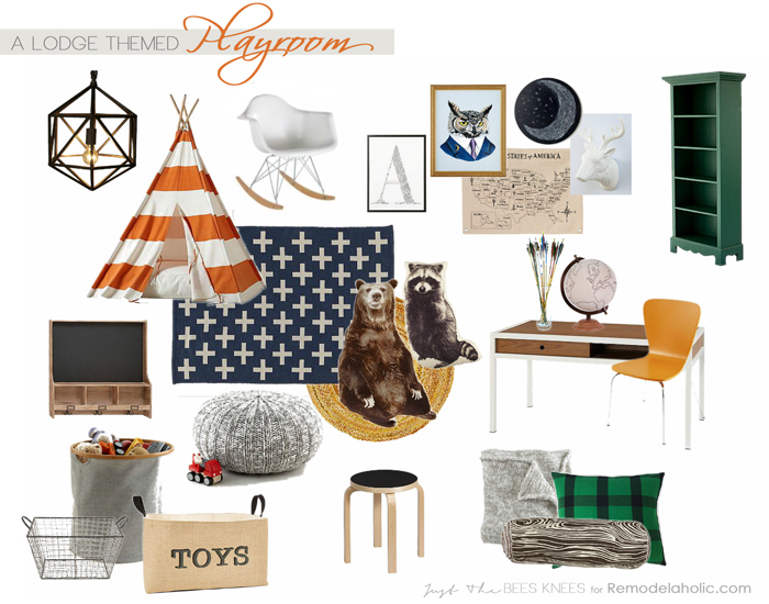 What a fun playroom! Love the lodge theme for kids, boys and girls. Remodelaholic.com