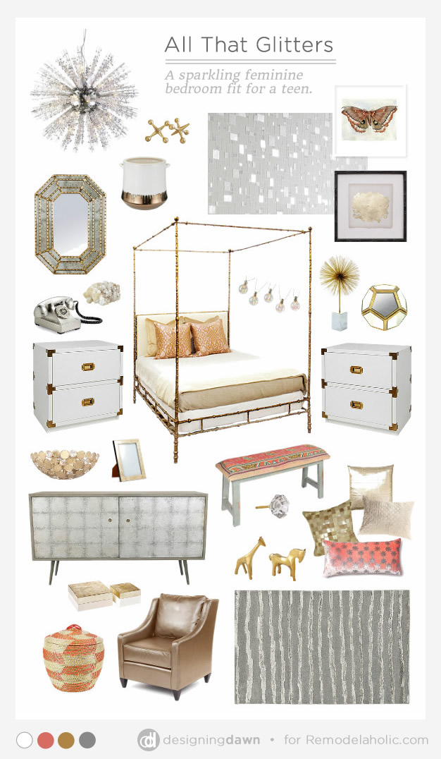 All That Glitters - Sparkly Teen Girl's Room by Designing Dawn for Remodelaholic.com