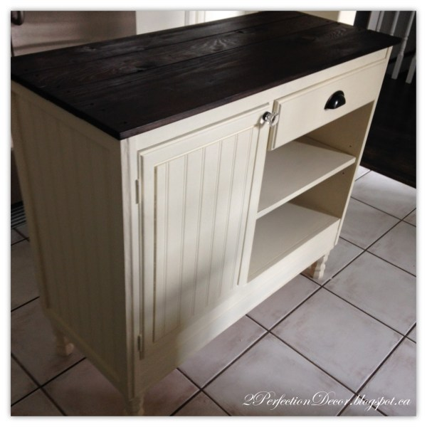 Beadboard kitchen island with plank wood top by 2Perfection Decor featured on @Remodelaholic