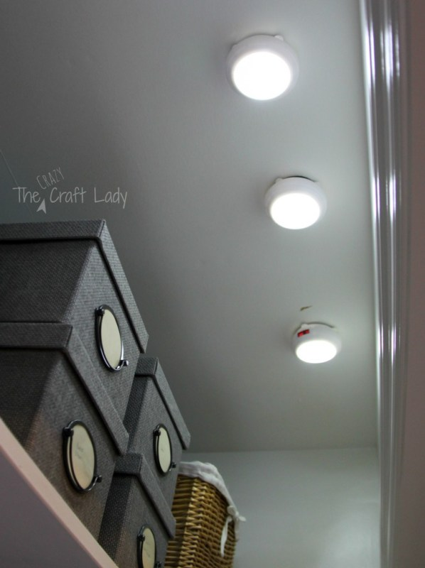 Closet home office lighting - The Crazy Craft Lady featured on @Remodelaholic