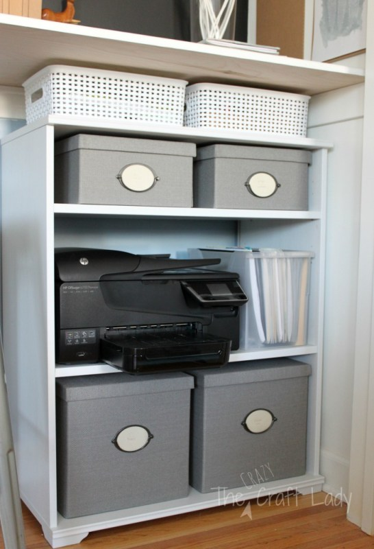 Closet office with storage - The Crazy Craft Lady featured on @Remodelaholic