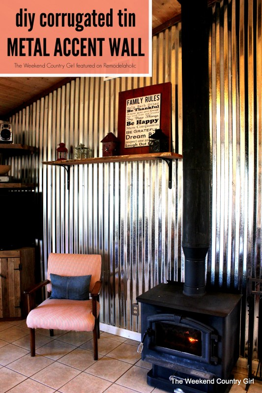 Create your own corrugated tin metal sheet accent wall - The Weekend Country Girl featured on @Remodelaholic