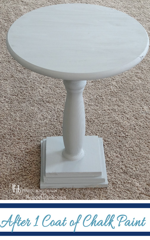 DIY Pedestal Table after First Coat of Paint
