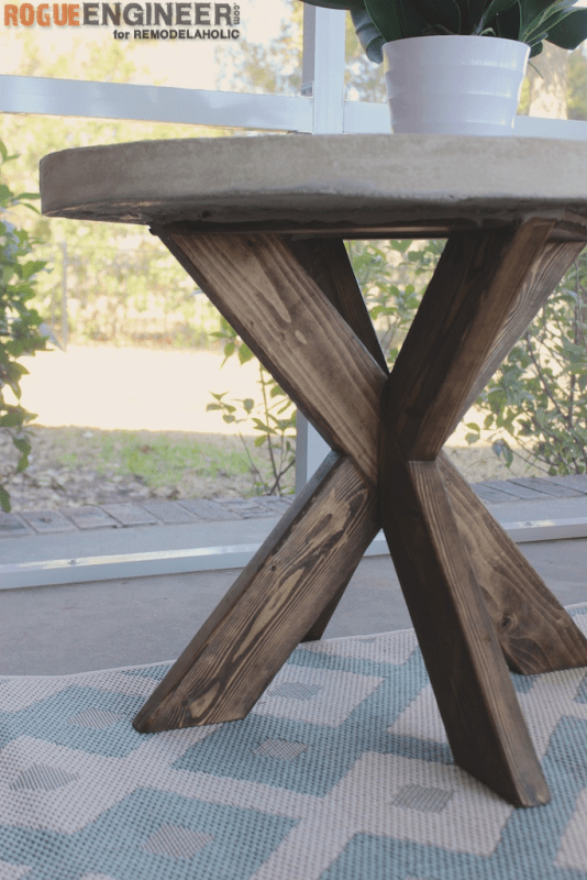 DIY X Brace Concrete Side Table Plans