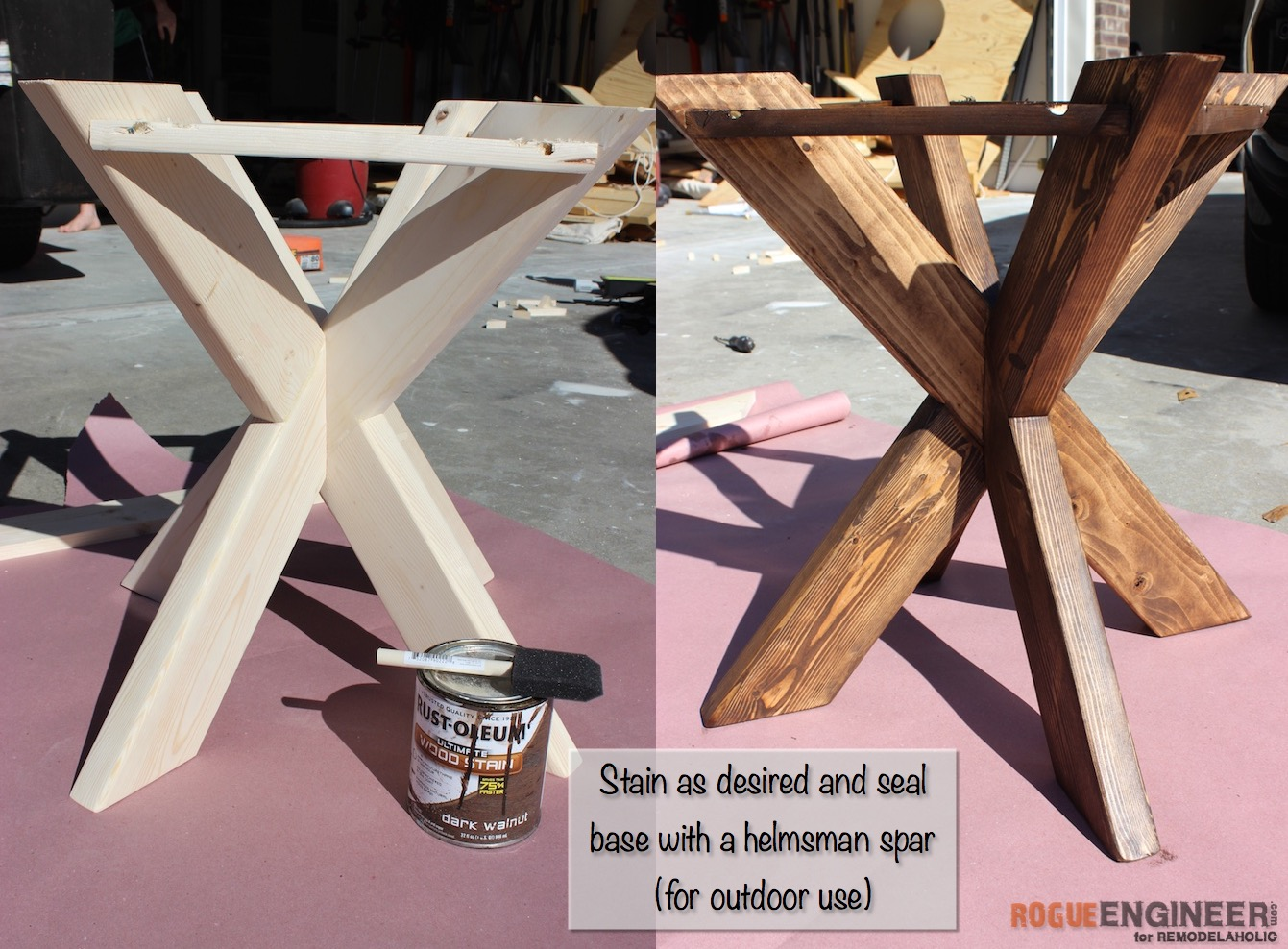 DIY X-Brace Concrete Side Table Plans | Step 10