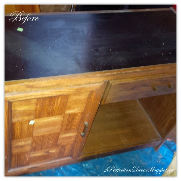 How to revamp this vintage desk into a kitchen island by 2Perfection Decor featured on @Remodelaholic