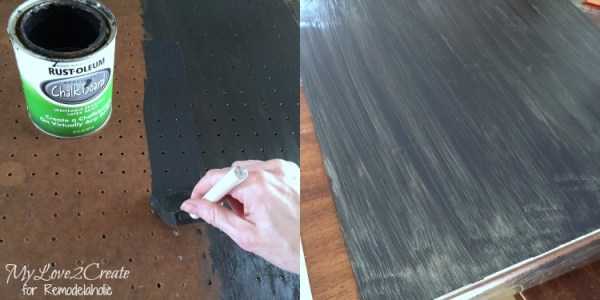 painting pegboard and metal with chalkboard paint