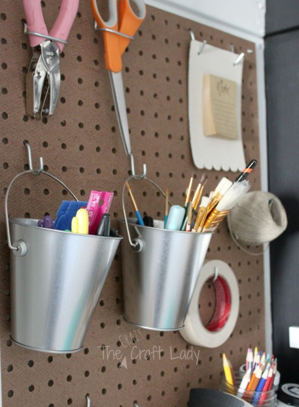 Organize craft supplies in a closet home office 2- The Crazy Craft Lady featured on @Remodelaholic
