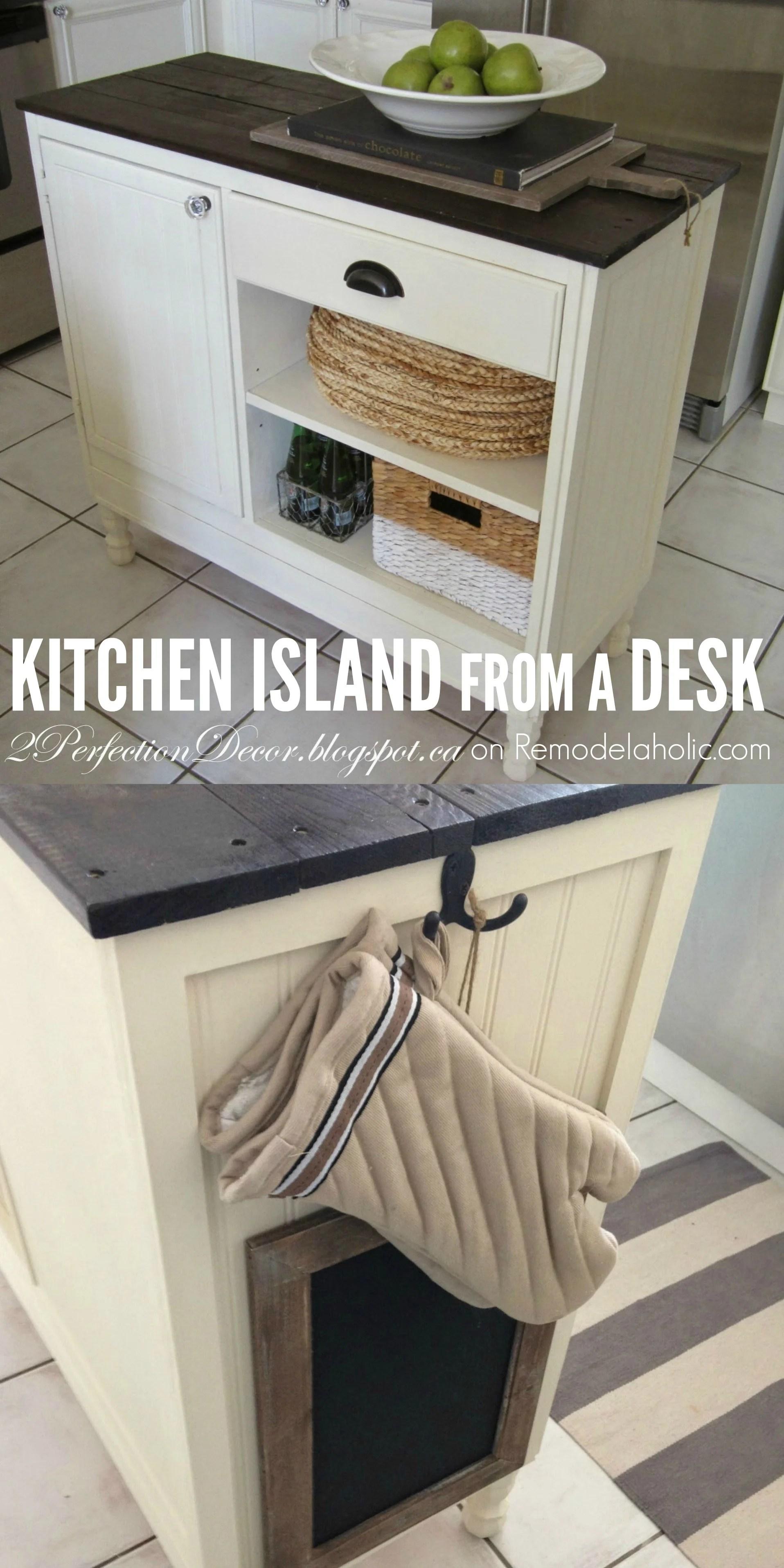 Remodelaholic Upcycled Vintage Desk Into Kitchen Island With Storage