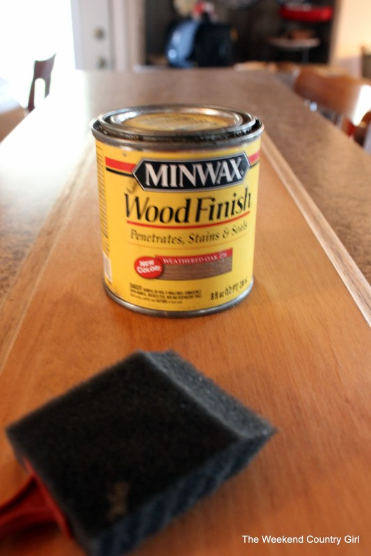Weathered wood stain tutorail by The Weekend Country Girl on @Remodelaholic