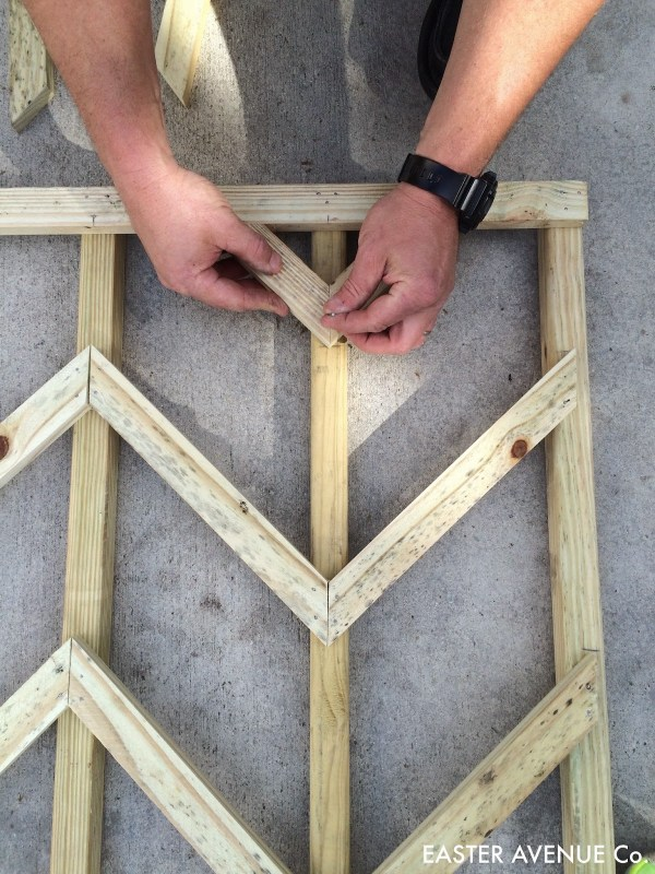 how to build a chevron lattice for garden plants, step 20 - Easter Avenue Co on @Remodelaholic