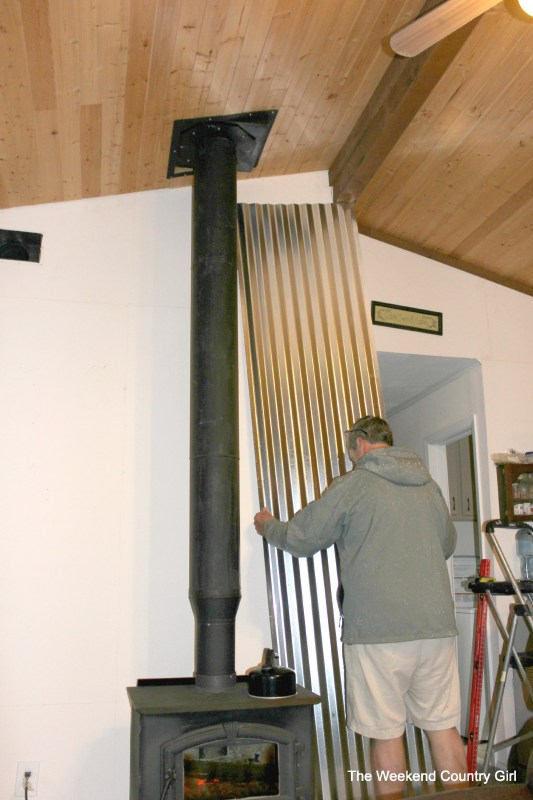how to install a corrugated tin wall - The Weekend Country Girl featured on @Remodelaholic
