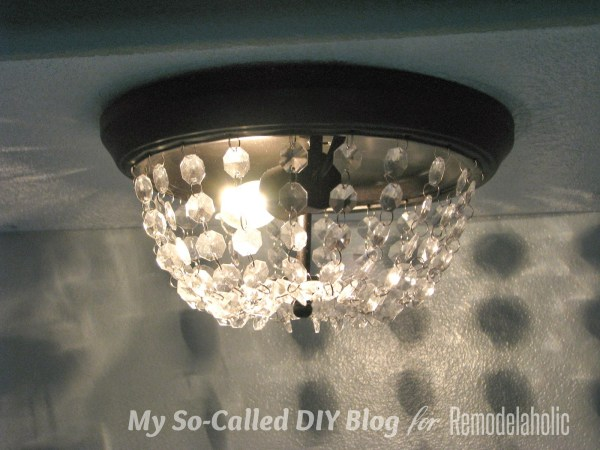 knockoff Pottery Barn MIA faceted crystal flushmount from a standard ceiling light - My So-Called DIY Blog on @Remodelaholic