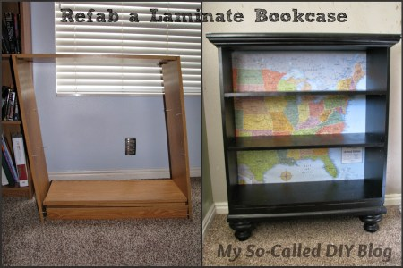 laminate bookcase update - My So-Called DIY Blog on @Remodelaholic