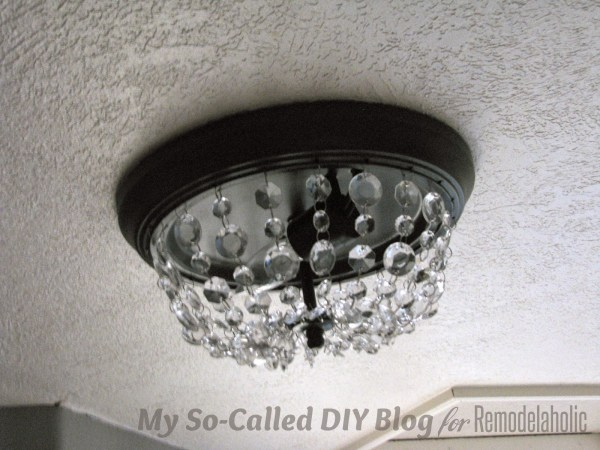 make a Pottery Barn knockoff Mia crystal strand flushmount light - My So-Called DIY Blog on @Remodelaholic