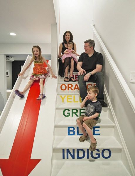 novogratz playroom stairs and slide