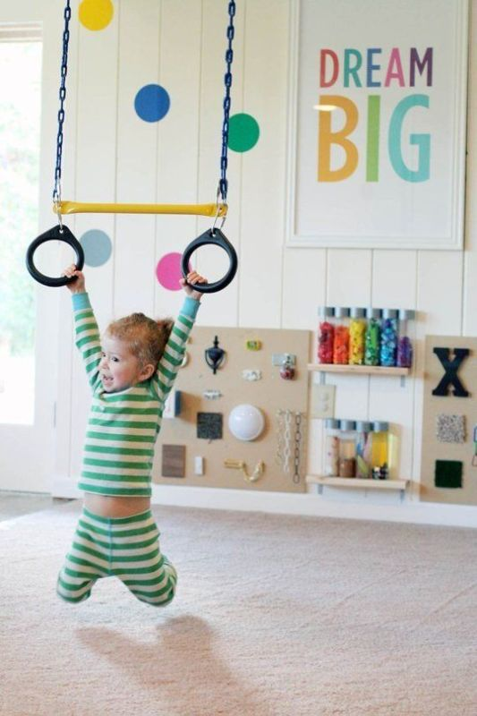 add gymnastic rings for a super fun playroom