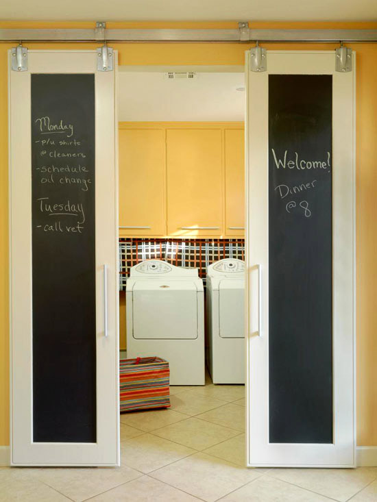 Love these double sliding doors with chalkboards! Originally from bhg.com but you can & Remodelaholic   DIY Double Sliding Doors with Chalkboard