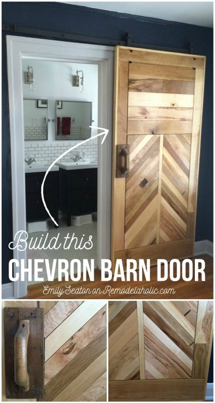 Build an amazing chevron barn door with this great tutorial and woodworking plans.