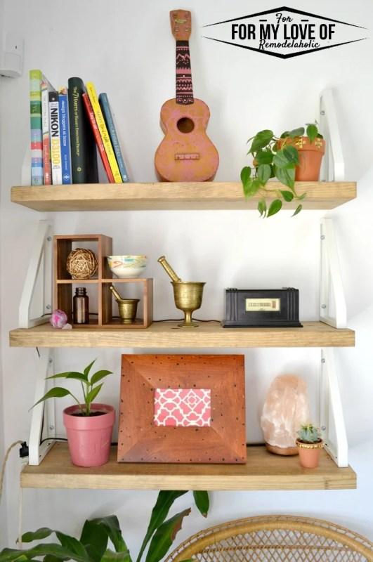 DIY Rustic Modern Boho shelves hacking the IKEA Ekby Lerberg brackets to work in reverse