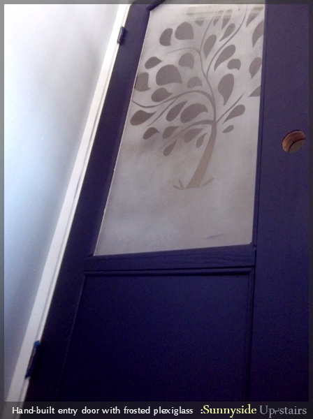 Hand Built Entry Door with Frosted Plexiglass by Sunnyside Up-stairs featured on @Remodelaholic
