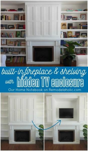 Hidden TV Nook in Fireplace Shelving Built-In