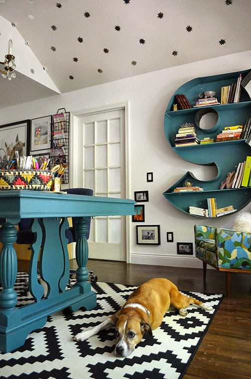 Monogram wall shelf and gorgeous home office by The Happy Homebodies featured on @Remodelaholic