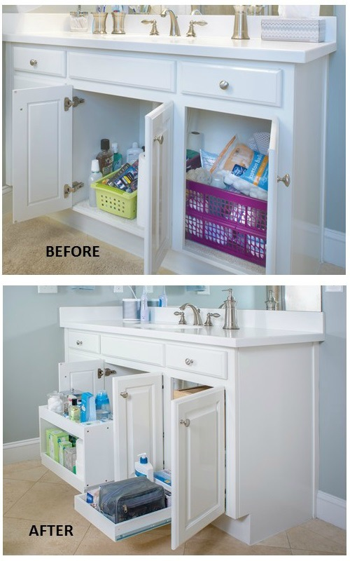 Organize Bathroom Cabinets - use tiered sliding shelves to organize under the sink