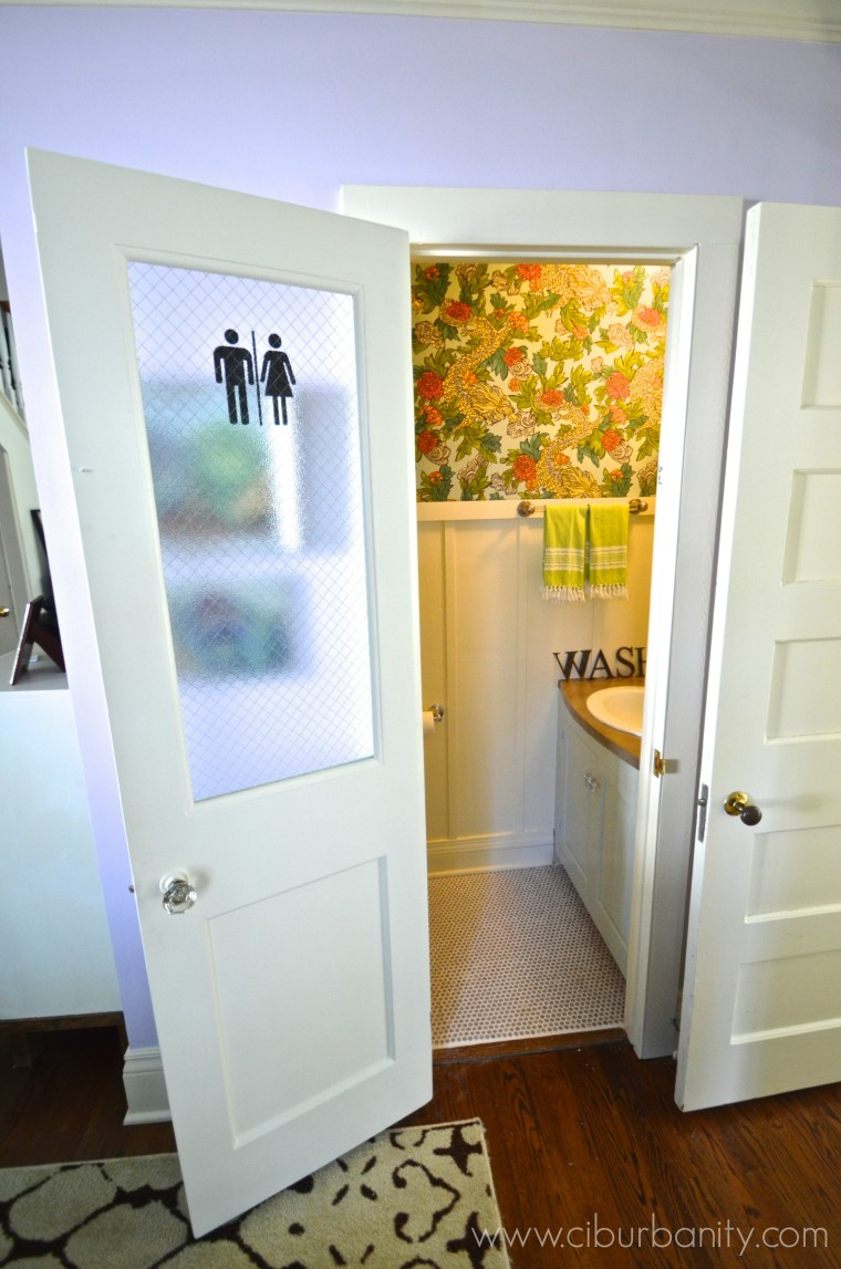 Remodelaholic How To Add A Glass Pane To A Wood Door - Glass panel bathroom door