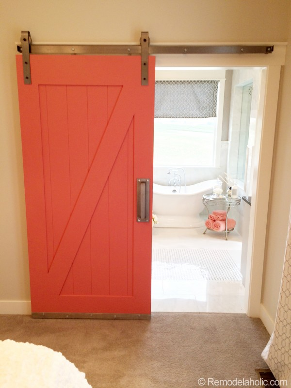 coral barn door - UV Parade of Homes via Remodelaholic