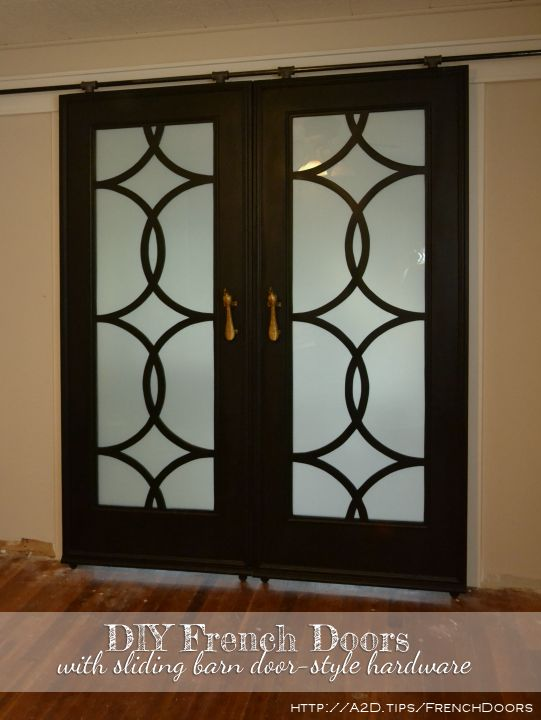 french sliding doors with budget-friendly barn door style hardware - Addicted2Decorating