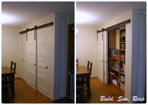 triple sliding pantry door using barn door hardware - Build Sew Reap