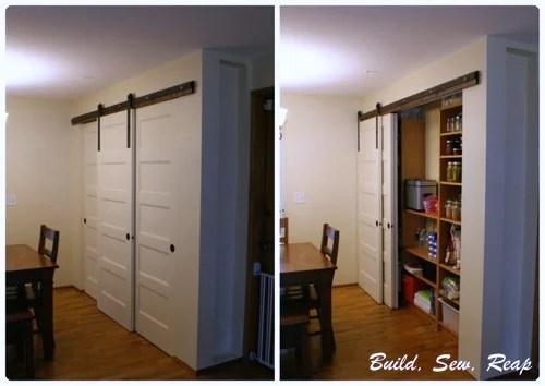 triple sliding pantry door using barn door hardware - Build Sew Reap