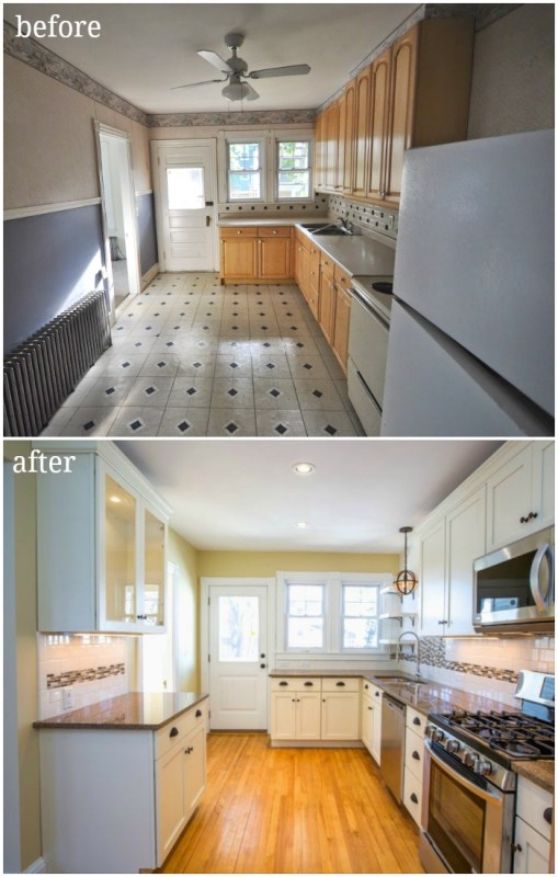 updated traditional contemporary kitchen in duplex with tile backsplash and creamy white cabinets open shelving glass front cabinets before and after - SoPo Cottage on @Remodelaholic