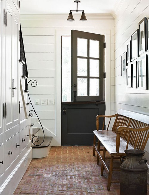 Beautiful Doors - black dutch door in a white shiplap planked wall entry with brick floor - Traditional Home via Southern Hospitality