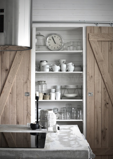 Beautiful Doors - double wooden sliding barn doors on pantry Basic Label