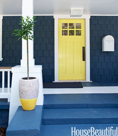Beautiful Doors - entry craftsman door in Pratt and Lambert Casava via House Beautiful