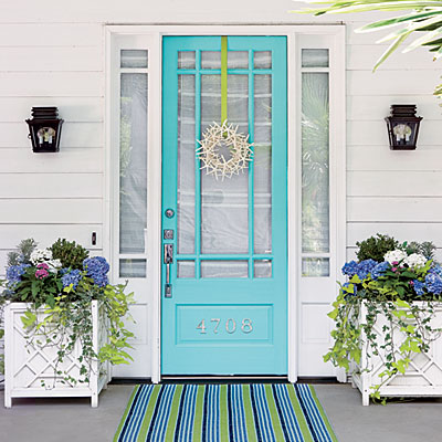 Beautiful Doors - entry door in Valspar Simply Aqua
