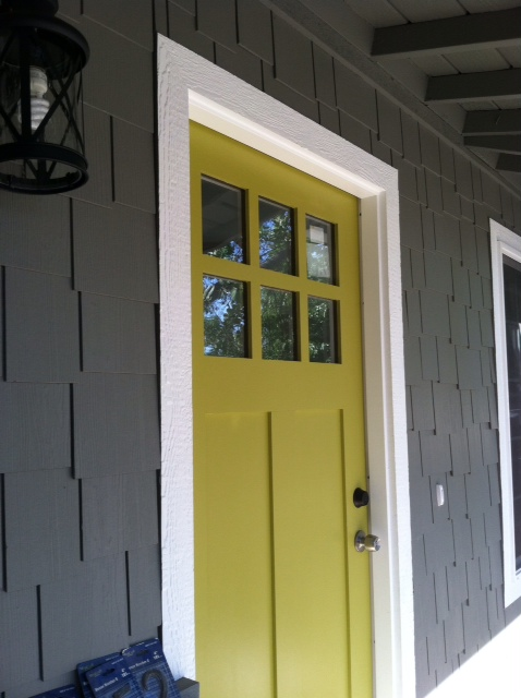 Beautiful Doors - entry door on gray house painted in Sherwin Williams Antiquity by Chic Little House