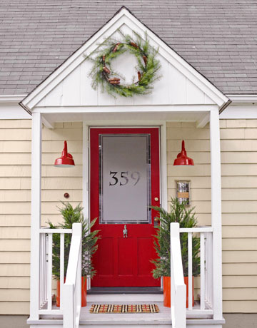 Beautiful Doors - entry door with frosted glass in Benjamin Moore Heritage Red