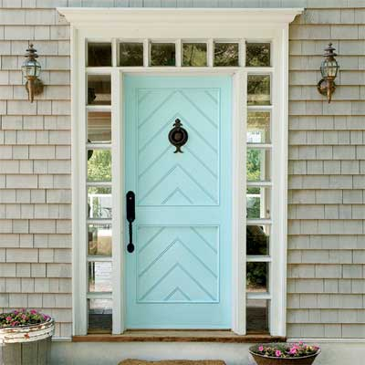 Beautiful Doors - entry door with herringbone accent in Behr Cool Jazz via This Old House