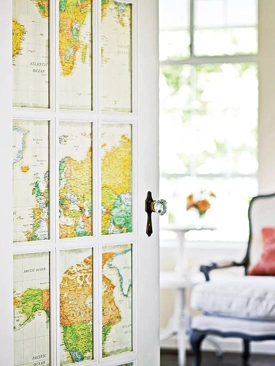 Beautiful Doors - glass pane door with map inset BHG