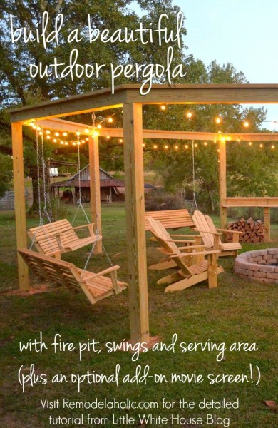 Build an outdoor pergola around a firepit, including swings, a serving area, and a movie screen - DIY tutorial from Little White House Blog on @Remodelaholic